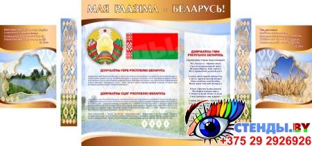 Стенд информационный Государственная символика Беларуси в золотисто-коричневых тонах 1800*880мм