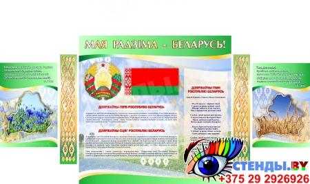 Стенд информационный Государственная символика Беларуси в зеленых тонах 1800*880мм