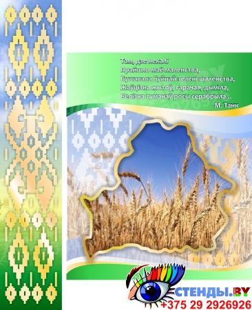Стенд информационный Мая Радзiма - Беларусь! с символикой Республики Беларусь зеленый большой  2150*880мм Изображение #1
