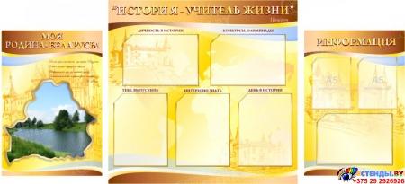 Стенд  История - учитель жизни в кабинет истории золотисто-коричневый с изображением природы  1700*770мм