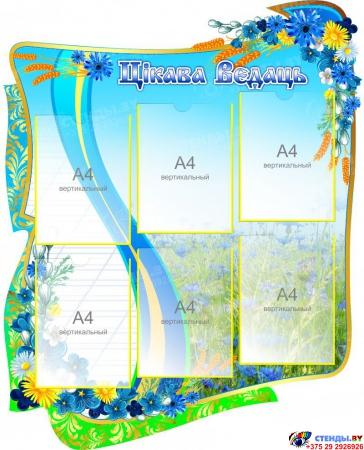 Стенд-композиция для кабинета белорусского языка и литературы Скарбы мовы с васильками 2860 х1060 мм Изображение #2