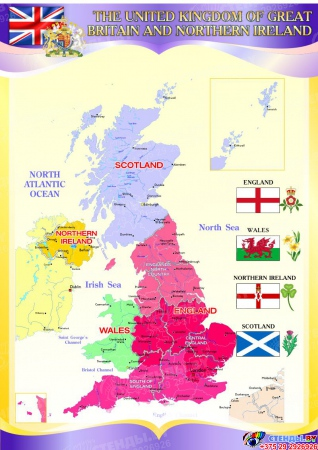 Стенд Карта Великобритании  в фиолетовых тонах на английском языке 750*530 мм