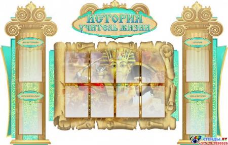 Стенд-композиция История - учитель жизни в золотисто-бирюзовых тонах 2150*1380мм