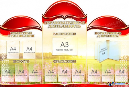 Стенд-композиция  Образовательная деятельность в золотисто-красных тонах с вертушкой 2220*1500мм