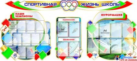 Стенд-композиция Спортивная жизнь школы  в бело-зелёно-красных  с голубым тонах 2850*1300 мм