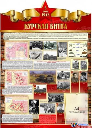 Стенд Курская битва на тему  ВОВ размер 900*1250мм
