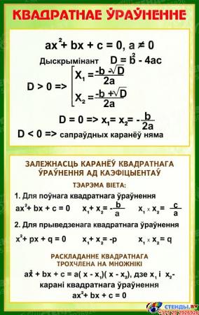 Стенд Квадратнае ўраўненне в золотисто-зелёных тонах на белорусском языке  530*840 мм