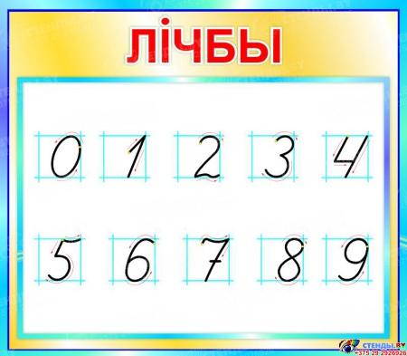 Стенд Лiчбы на белорусском языке для начальной школы в бирюзовых тонах  400*350мм