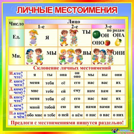 Стенд Личные местоимения в кабинет русского языка 550*550 мм
