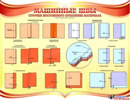 Стенд Машинные швы для  кабинета трудового обучения в золотисто-красных тонах 900*700мм