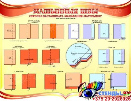 Стенд Машынныя швы для кабинета трудового обучения на белорусском языке в золотисто-красных тонах 910*700 мм