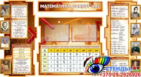 Стенд Математика вокруг нас с таблицей основных тригонометрических функций в коричневых тонах 1800*955мм