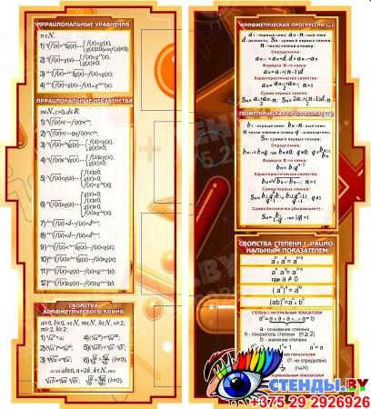Стенд Математика вокруг нас с таблицей основных тригонометрических функций в коричневых тонах 1800*955мм Изображение #1