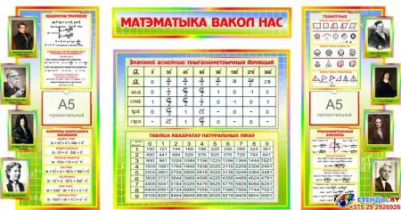 Стенд Матэматыка вакол нас на белорусском языке с формулами в стиле Радуга 1820*970мм