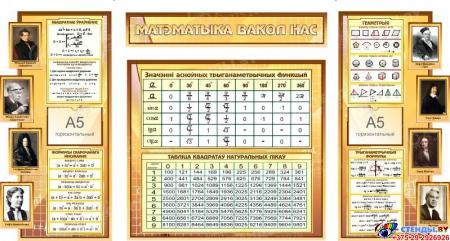 Стенд Матэматыка вакол нас на белорусском языке с формулами в золотисто-бежевых тонах 1820*970мм