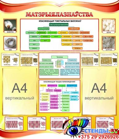 Стенд Материаловедение для кабинета трудового обучения на белорусском языке 770*900 мм