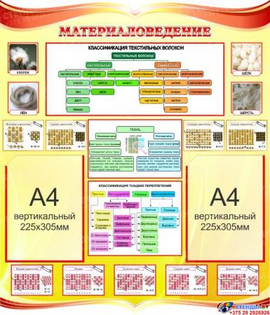 Стенд Материаловедение для кабинета трудового обучения в золотисто-красных тонах 770*900мм