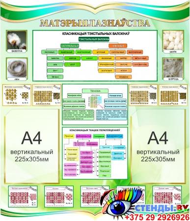 Стенд Матэрыялазнаўства для кабинета трудового обучения на белорусском языке 770*900мм