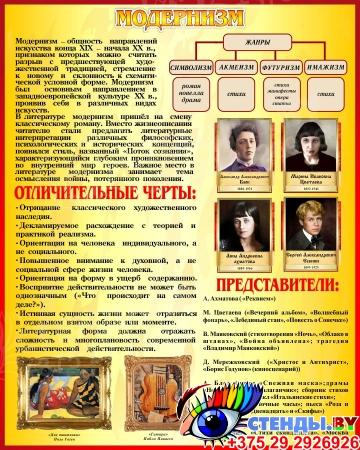 Стенд Модернизм в искусстве и литературе в золотисто-бордовых тонах 400*500 мм