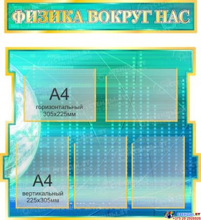 Стенд в кабинет Физики Физика вокруг нас в бирюзово-синих тонах 1800*995мм Изображение #2