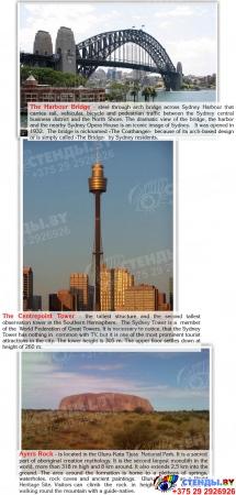 Стенд Достопримечательности Австралии на английском языке в синих тонах 600*750 мм Изображение #3