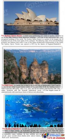 Стенд Достопримечательности Австралии на английском языке в золотисто-зеленых тонах 600*750 мм Изображение #3