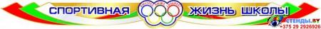 Стенд композиция Спортивная жизнь школы в голубых тонах с красно-зелёной шапкой 2320*1240 мм Изображение #1
