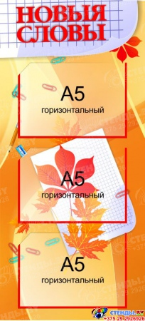 Стенд Новыя словы Золотисто-оранжевый  300*660мм