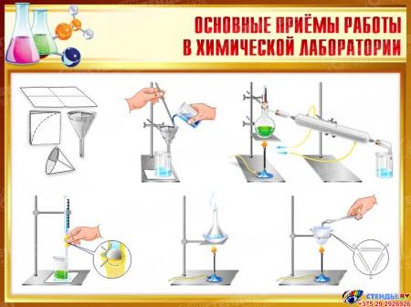 Стенд Основные приёмы в химической лаборатии  900*680мм