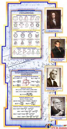 Стенд в кабинет Математики Математика вокруг нас с формулами в синих тонах на фоне тетради 2040*955мм Изображение #2