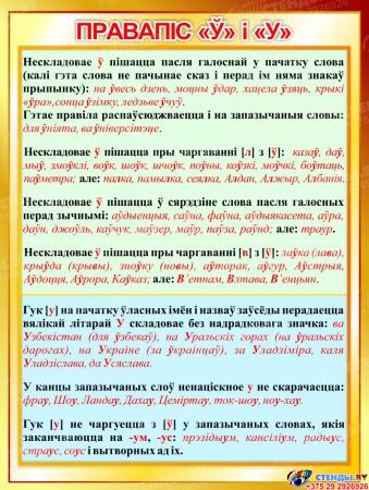Стенд Правапiс нескладовае Ў i У  на белорусском языке 600*800мм