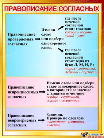 Стенд Правописание согласных в золотистых тонах 600*800мм