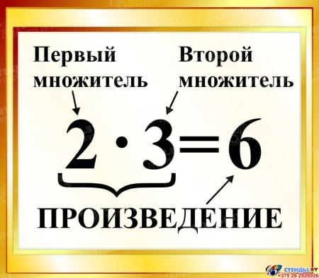 Стенд Произведение  для начальной школы в золотистых тонах 400*350мм