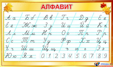 Стенд прописной Алфавит по Сторожевой для начальной школы 700*420мм