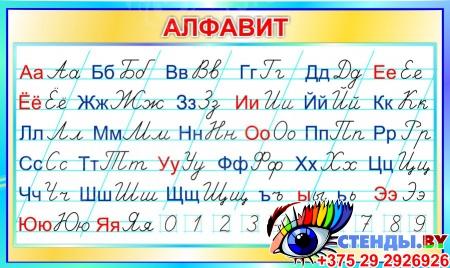 Стенд Алфавит с прописными и строчными буквами по Сторожевой в бирюзовых тонах 700*420мм