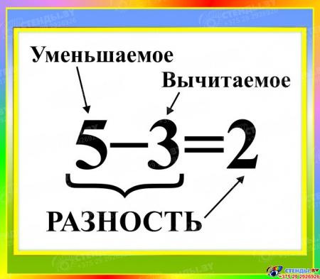 Стенд Разность для начальной школы в зелено-голубых тонах 400*350мм