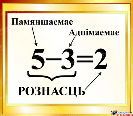 Стенд Рознасць на белорусском языке для начальной школы в золотистых тонах 400*350мм