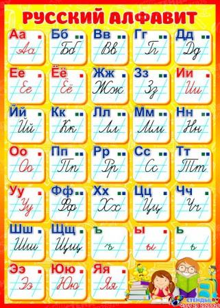 Стенд Русский алфавит для начальной школы в жёлто-красных тонах 500*700мм