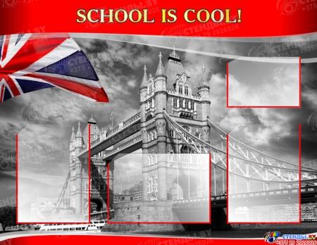 Стенд SCHOOL IS COOL! для кабинета английского языка в стиле Лондон 970*750мм