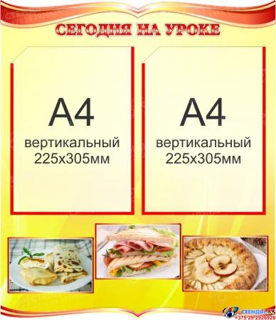 Стенд Сегодня на уроке кулинарии в золотисто-красных тонах 500*580мм
