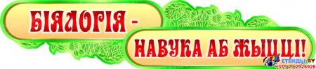 Стенд фигурный БIЯЛОГIЯ -НАВУКА АБ ЖЫЦЦI! в кабинет биологии на белорусском языке  2800*1020мм Изображение #3