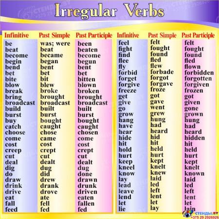 Стенд Irregular Verbs  для кабинета английского в желто-фиолетовых тонах  1700*850мм Изображение #2