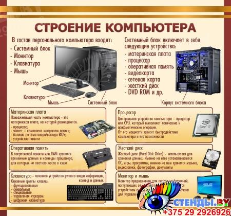 Стенд Строение компьютера в золотисто-коричневых тонах для кабинета информатики 1500*1400мм