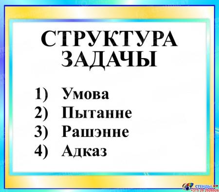 Стенд Структура задачы в бирюзовых тонах на белорусском языке 400*350мм