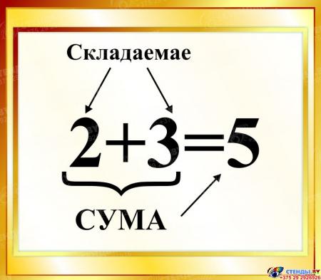 Стенд Сума на белорусском языке для начальной школы в золотистых тонах 400*350мм