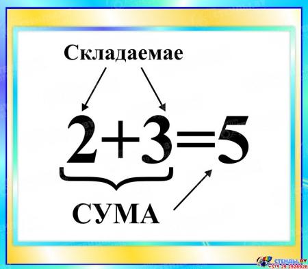 Стенд Сума  в бирюзовых тонах на белорусском языке 400*350мм