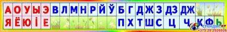 Стенд таблица галосныя i зычныя лiтары i гукi для начальной школы 1400*200 мм