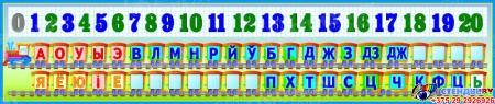 Стенд Таблiца галосныя зычныя лiтары i цыфры для начальной школы Паровозик 1650*350мм