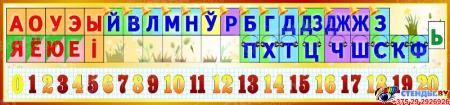 Стенд Таблiца галосныя зычныя лiтары i цыфры на белорусском языке 1500*350мм