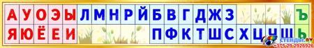 Стенд таблица гласные согласные буквы для начальной школы в золотистых тонах 1250*200 мм